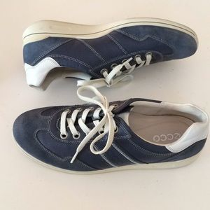 Ecco blue suede and leather sneakers